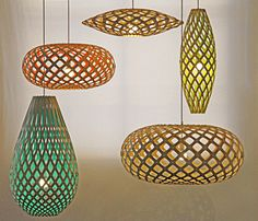 Coloured bamboo pendant lights by David Trubridge