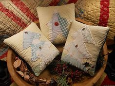 Christmas PILLOWS Collection - SET of 3 - made from Antique QUILT - Bowl Fillers