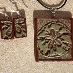 Sage Sand Dollar~ polymer clay pendant and earrings,black leather neck cord included.  $15 on ETSY & ArtFire Polymer Clay Pendant, Clay Ideas, Pendant Earrings, Old School, Sage, Cord, Charms, My Etsy Shop, Black Leather