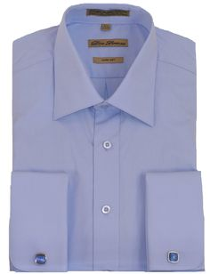 Blue French Cuff Dress Shirt (cufflinks included): Blue French Cuff Dress Shirt in premium cotton with polyester blend for ease and comfort. Patch pocket on left chest. Cufflinks may vary. Designed in Italy. French Cuff Dress Shirts, Cufflinks, Thing 1, Shirt Dress, Mens Tops, Cotton, Blue, Clothes, Italy