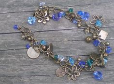 handmade jewelry Antique Brass and Swarovski Cyrstals