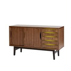 The Arne Compact Sideboard by Steijer combines elegant lines with eye catching coloured details resulting in a timeless, classic design referencing The Century Scandinavian style. Features 5 drawers and a large cupboard space with a Cabinet Cupboard, Storage Cabinet, Living Room Decor Colors, Living Storage, Compact Sideboard, Living Room Storage Cabinet, Cupboard Storage, Dining Rug, Cupboard