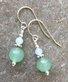 Earthy Aqua Drop Earrings Rustic Beachy Jewelry Blue Green Teardrop Bead Dangles on Plated Bright Copper Hooks