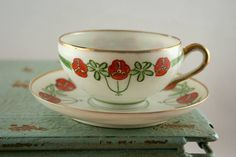 Red Floral Teacup & Saucer Red Flower Teacup Red Green