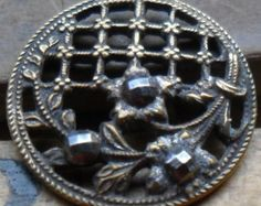 "5/8"" Beautiful Flower Cut Steel Pierced Metal Antique Button  - Vintage"
