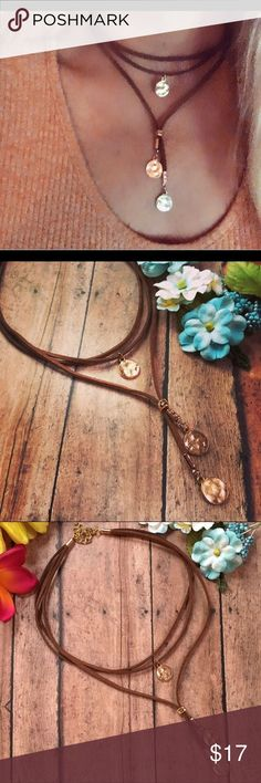 Choker, layered, bohemian necklace, boho jewelry This choker, necklace is dark brown soft suede, Rose gold hammered disks, first two rows are 14 inches to fit comfortably around the neck The third layer is 16 inches with disks, All attached with the 2 inch extender, boho jewelry, bohemian style, hippie jewelry, gypsy style, handmade, new Kathy Netto Designs Jewelry Necklaces
