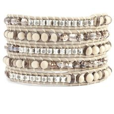 Robles Wood Mix Sectioned Wrap Bracelet on Petal Leather