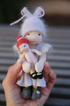 ":: Crafty :: Cloth Doll :: 6"" Waldorf-inspired pocket doll, Valentina, Wee-Bee Mini Elfcup"