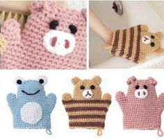 These are too cute for kid's cotton washcloths   graph available