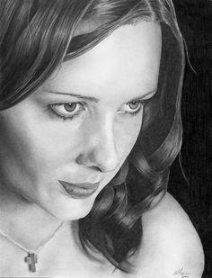 Graphite pencil portrait drawing. Strathmore 400 series bristol board. Dawn
