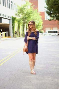 Tassel Dress + Gladiator Sandals on For All Things Lovely www.forallthingslovely.com