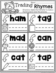 Word Family Rhyming Words - Switching Consonants, Medial A Rhyming Words For Kids, Rhyming Word Game, Rhyming Activities, Phonics Worksheets, Kindergarten Worksheets, Homeschool Kindergarten, Kindergarten Writing, Preschool Learning, Learning Activities