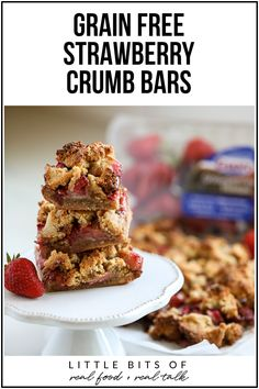 These Grain Free Strawberry Crumb Bars are the perfect healthy dessert to bring to a pool party or BBQ this summer!