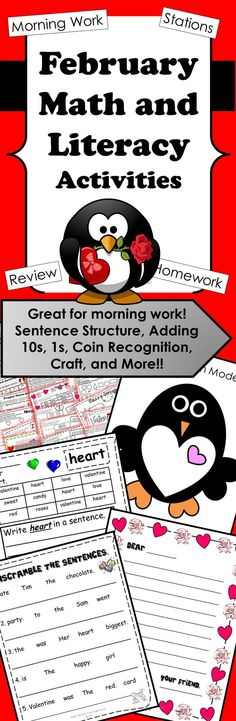 February Math/Literacy Packet is heart themed with lots of valentine fun! The curriculum content will keep you on track with your first graders. There are sight word activities, sentence punctuation and structure, letter writing, a craft, addition bump, and more! This could also be a supplement for higher kindergarten students or 2nd grade review!
