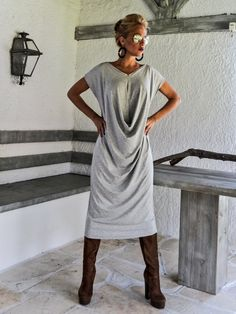 Light Gray Melange Maxi Dress / Gray Kaftan / Asymmetric Plus Size Dress / Oversize Loose Dress / #35037 by SynthiaCouture on Etsy