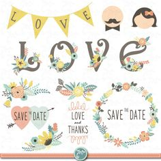 "Wedding Clipart pack ""WEDDING FLORA"" digital clip art,Vintage Flowers,Floral Frames,Wreath,Wedding invitation,Instant Download Wd050"