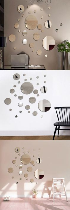 mirrors sets for wall decor CLICK VISIT link to read more - Top 10 Mirror Tips For Decorating Your Home. mirrors edge catalyst wall mirrors for bedroom Diy Room Decor, Bedroom Decor, Wall Decor, Wall Art, Mirror Wall Stickers, Wall Mirrors, Big Mirrors, Round Mirrors, Home Decor Furniture