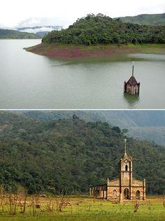 Pueblo de Potosi bajo las aguas de una represa, Venezuela