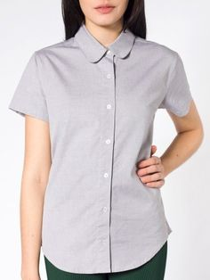 Pinpoint Oxford Round Collar Short Sleeve Button-Up Shirt | Tienda American Apparel