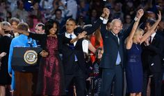 US-VOTE-2012-ELECTION-OBAMA  (L-R) US First Lady Michelle Obama, US President Barack Obama, US Vice President Joe Biden and his wife Jill Biden celebrate on election night November 7, 2012 in Chicago, Illinois. Obama and Biden won re-election to a second 4-year term. AFP PHOTO / Saul LOEB (Photo credit should read SAUL LOEB/AFP/Getty Images)