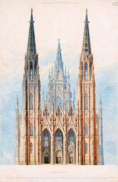 Historical Designs / Utopias / Monuments - Never built - Page 31 - SkyscraperCity Cathedral Architecture, Gothic Architecture, Religious Architecture, Historical Architecture, Architecture Plan, Building Art, Facade Design, Unusual Buildings, Technical Drawing