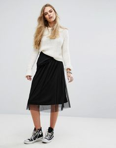 Get this Pimkie's knee skirt now! Click for more details. Worldwide shipping. Pimkie Mesh Overlay Midi Skirt - Black: Skirt by Pimkie, Lined mesh, Mid-rise waist, Regular fit - true to size, Machine wash, 100% Polyester, Our model wears a UK S/EU S/US S and is 174cm/5'8.5 tall. In 1971, French label Pimkie brought three textiles specialists together to create empowering collections that encourage women to express themselves, and the rest is fashion history. With a nod to the catwalks, their…