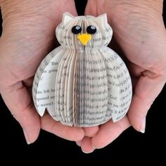 Mini Book Art Owl in Presentation Box – Creaton Crafts & Gifts Folded Book Art, Paper Book, Paper Art, Cut Paper, Old Book Crafts, Book Page Crafts, Owl Crafts, Paper Crafts, Owl Books