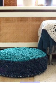 Crochet - Zpagetti Floor Cushion.  Yarn is made from fabric.  From littleZ handmade.