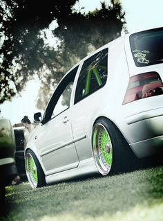 Sick Mk4 on green bbs rs's with a matching cage