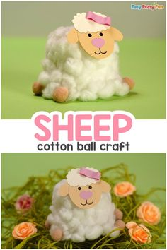 Cotton Ball Sheep Craft Easter Arts And Crafts, Spring Crafts For Kids, Cotton Ball Crafts, Activities For Kids, Senior Activities, Sheep Crafts, Sunday School Crafts, Gifted Kids, Crafts To Do