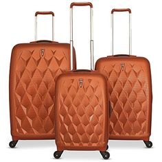 CY Luggage 3 Piece Spinner Luggage Set 212529 Golden -- For more information, visit image link.