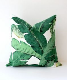 Green Floral Decorative Designer Pillow Cover 18 Accent Cushion Tropical Palm fronds Leaves nature jungle forest modern martinique Resort by WhitlockandCo on Etsy