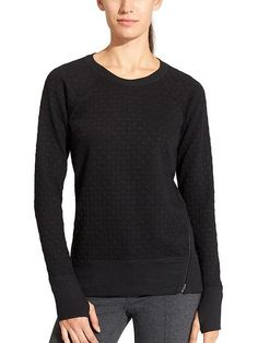 Athleta Quilted Pullover, Black, Small $89