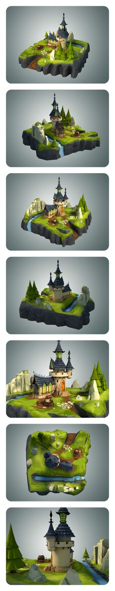 Stylized Castle Environment 3D model  Low Poly Stylized Castle Environments modelled in 3ds Max 14.  Suitable for games, mods or any real time applications.  The asset is detailed enough to allow close up shots.  This asset is optimized and hand tweaked. The FBX file ready to drag and drop to Unity and other game engines.