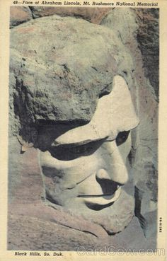 Linen Postcard Face Of Abraham Lincoln, Mt. Mont Rushmore, Important People In History, Memorial Park, Canadian Rockies, South Dakota, Monuments, Wyoming, Abraham Lincoln, Statues