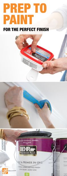 Proper prepping technique is the number one secret for a perfect paint job. After wiping down walls to remove dust and grime, use a Patch Repair Kit to repair damaged surfaces. Next, place ScotchBlue Painter's Tape around baseboards, crown molding, and Office Interior Design, Home Office Decor, Diy Interior, Yellow Interior, Brown Interior, Farmhouse Interior, Bathroom Interior, Interior Decorating, Painting Tips