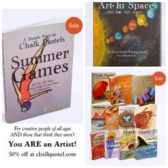 If you think you are art challenged, our mission is to help you and your children realize you ARE an artist! Chalk pastels are frugal (no long supply list) and successful. The whole www.chalkpastel.com store is 50% off - With a new Summer Games book and Art in Space coming soon. Get your curriculum and build a love of art!