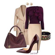 The wine colored blouse is Devine!