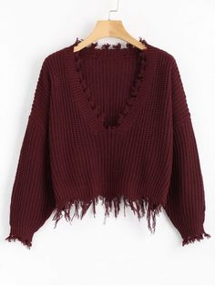 Loose Ripped V Neck Sweater - WINE RED ONE SIZE