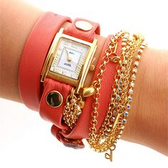 La Mer Collection Women's Tokyo Crystal Chain Wrap Watch in Coral Pink