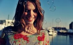Preview wallpaper girl, bubbles, happiness, smile