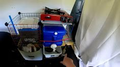 Cheap Mobile Kitchen Area, using $20 Whitmor Storage Cubes (Wire, Customizable) Mobile Living, Van Living, Cheap Mobile, Cheap Kitchen, Cube Storage, Home Appliances, Camper Van, Phones, Wire
