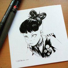 Un polluelo diaria se caliente.  Su cinta se hizo con su pelo.  Dunno cómo ella lo hizo.  Mi libro de arte Tinta & amp;  Punky a la venta.  Original a la venta también.  Enlace en el bio.  ¡Que tengas una buena semana!  #dailysketch #punk #girls