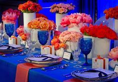 Bold colorful tabletop design by Holly Tripp Event Design of Dallas, floral by Lush Couture Floral.  Photography by Greg Blomberg Photography. #wedding #blue #orange #pink #tabletop