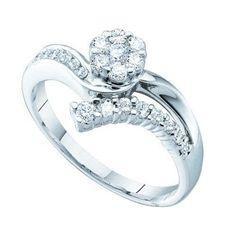 1/2CT-Diamond FLOWER RING