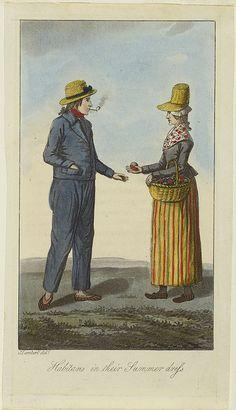 "Canadian working woman, c. 1808. ""Habitans in their Summer dress"" from John Lambert's ""Travels through Lower Canada... 1808"", London, 1810, vol. I facing p. 164."