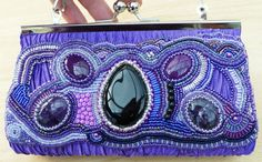 Amethyst violet purple bead embroidered clutch hand bag
