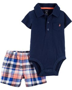 239170676c7 2-Piece Polo Bodysuit   Plaid Short Set. Carter s