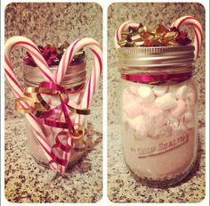 All you need: mason jar, cocoa mix, marshmallows, candy canes, ribbon, bows  Great for christmas craft and gifts!!  #christmas #holiday #craft #DIY #gift
