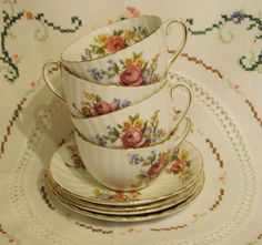 English Vintage bone China Teacups and saucers by VerasTreasures, $12.00
